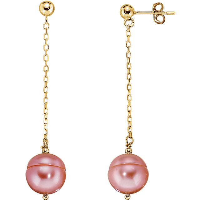 14 KT Yellow Gold Freshwater Cultured Pink Pearl Chain Earrings