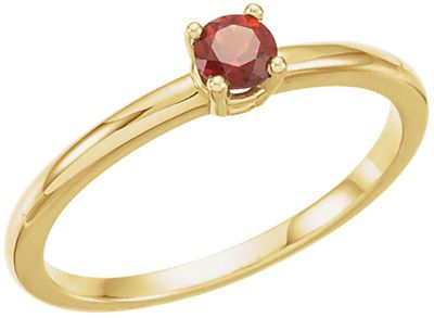 Eye Catching 14 Karat Yellow Gold Garnet Round Genuine Mozambique