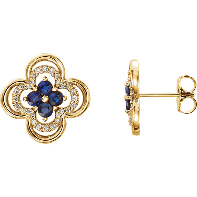 Perfect Gift Idea in 14 Karat Yellow Gold Blue Sapphire & 0.20 Carat Total Weight Diamond Clover Earrings