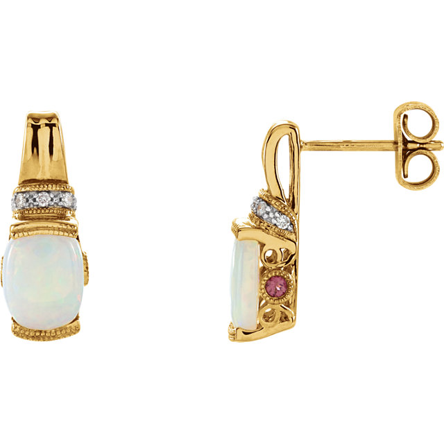 Contemporary 14 Karat Yellow Gold Opal, Pink Tourmaline & .05 Carat Total Weight Diamond Earrings