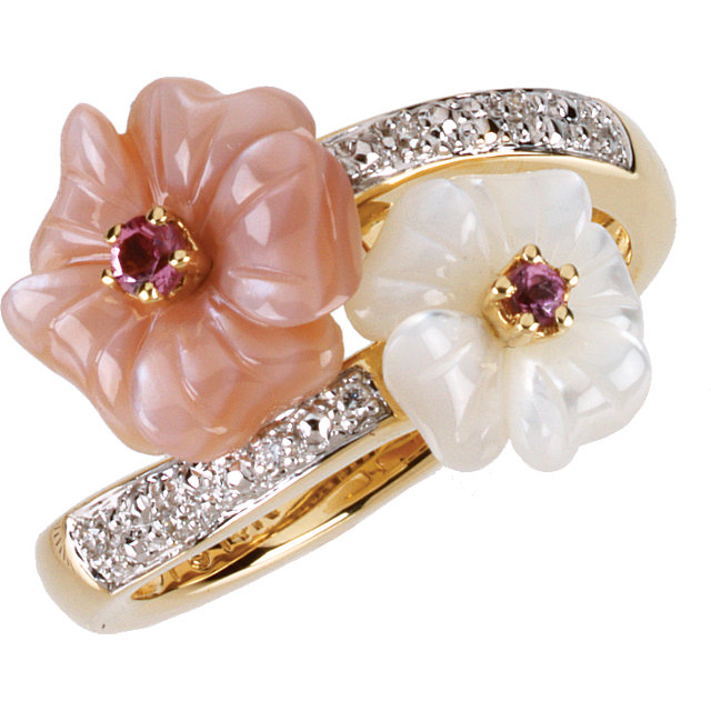Great Deal in 14 Karat Yellow Gold Pink Tourmaline, Mother Of Pearl & .04 Carat Total Weight Diamond Ring