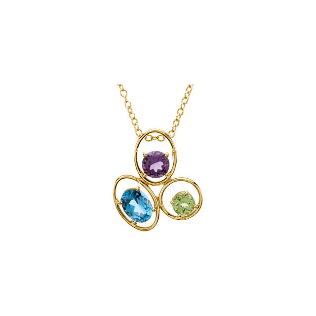 Beautiful 14 Karat Yellow Gold Swiss Blue Topaz, Amethyst & Peridot 18