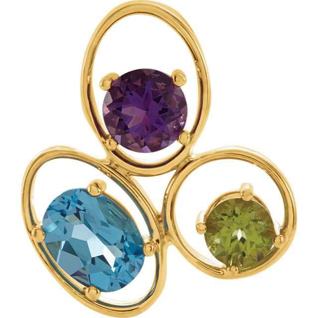 Gorgeous 14 Karat Yellow Gold Swiss Blue Topaz, Amethyst & Peridot Pendant