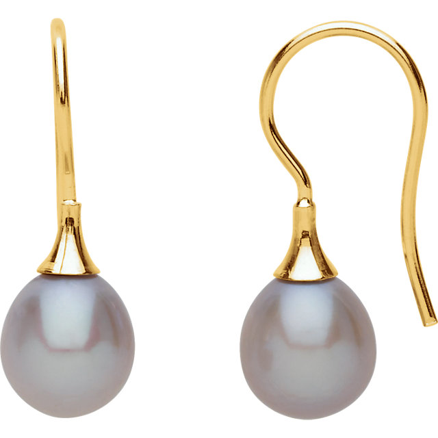 Contemporary 14 Karat Yellow Gold Gray Freshwater Cultured Pearl Earrings