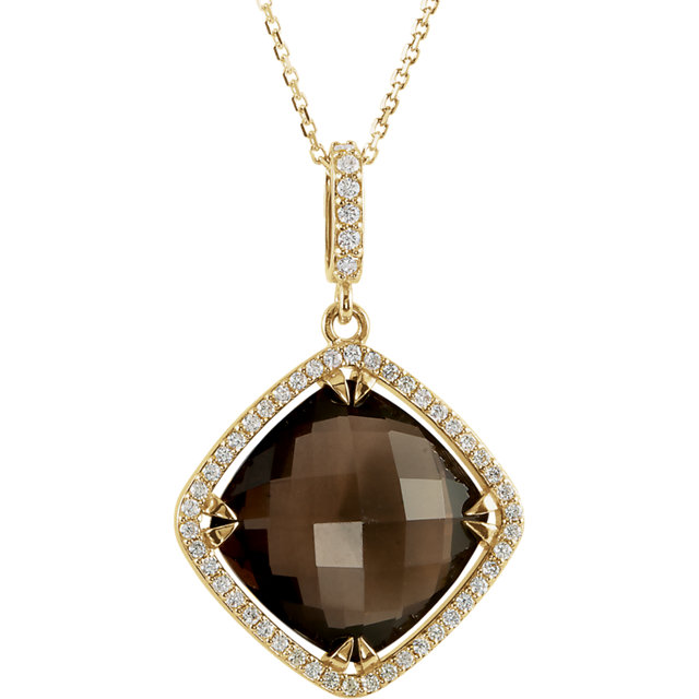 Perfect Gift Idea in 14 Karat Yellow Gold Smoky Quartz & 0.33 Carat Total Weight Diamond Halo-Style 18