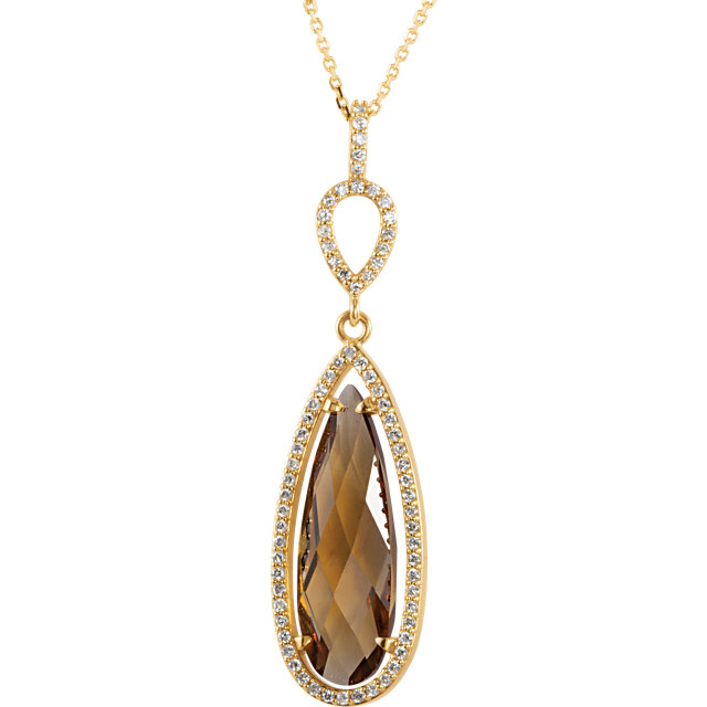 Wonderful 14 Karat Yellow Gold Honey Quartz & 0.33 Carat Total Weight Diamond Halo-Style 18