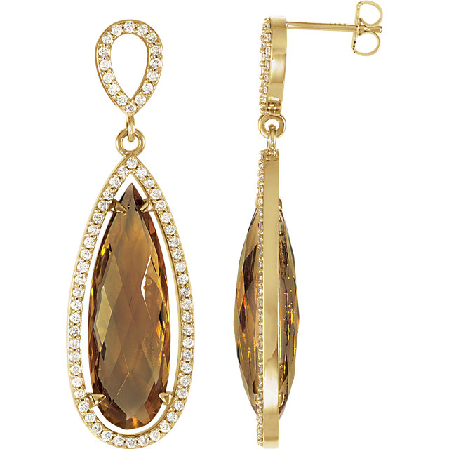 Easy Gift in 14 Karat Yellow Gold Honey Quartz & 0.60 Carat Total Weight Diamond Earrings