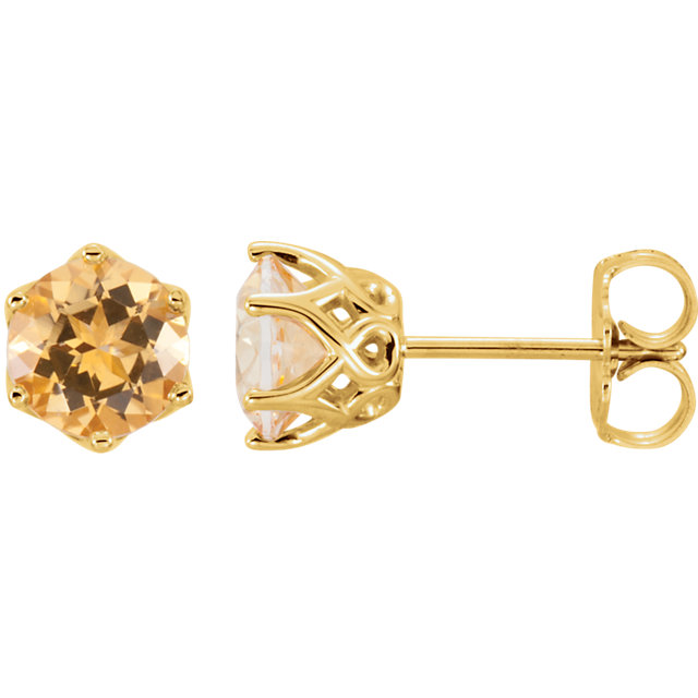 Perfect Jewelry Gift 14 Karat Yellow Gold Honey Topaz Earrings