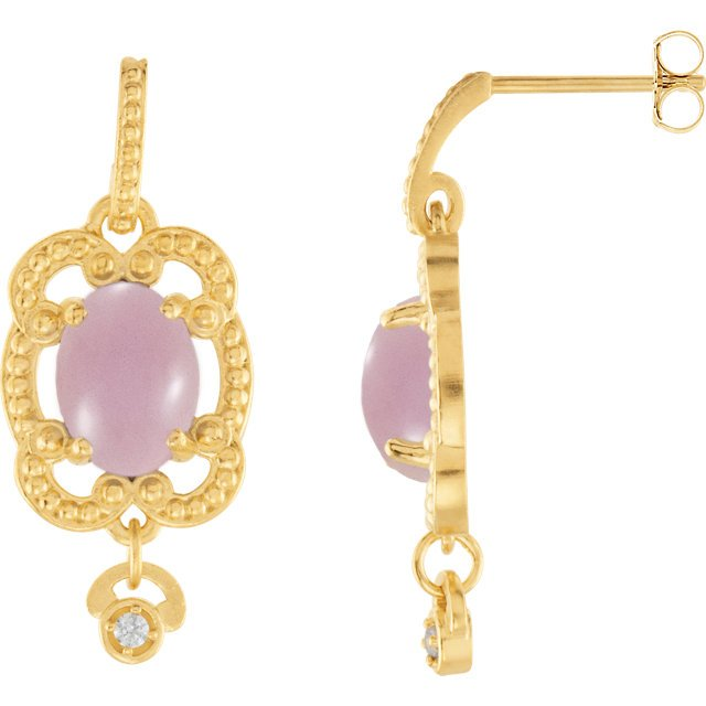 14KT Yellow Gold Lavender Chalcedony & .03 Carat Total Weight Diamond Earrings