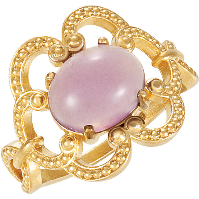 14 KT Yellow Gold Lavender Chalcedony Granulated Design Ring