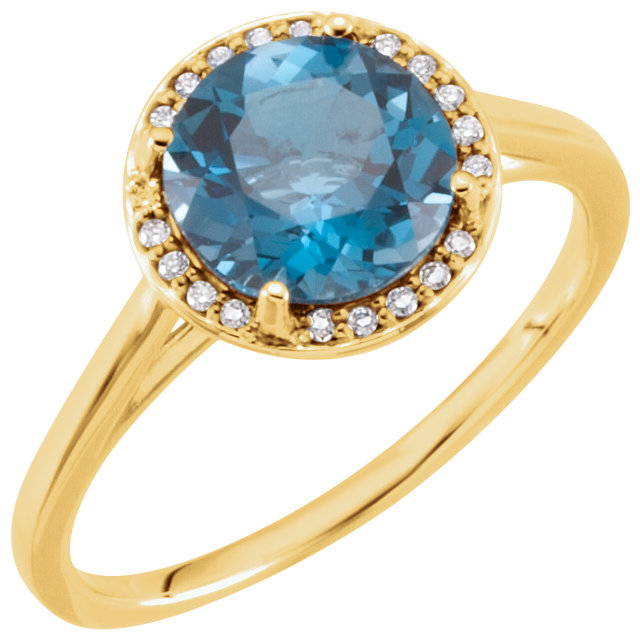 Eye Catching 14 Karat Yellow Gold Round Genuine London Blue Topaz & .05 Carat Total Weight Diamond Ring