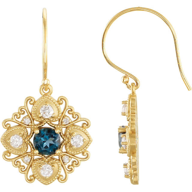 Easy Gift in 14 Karat Yellow Gold London Blue Topaz & 0.50 Carat Total Weight Diamond Vintage-Style Earrings