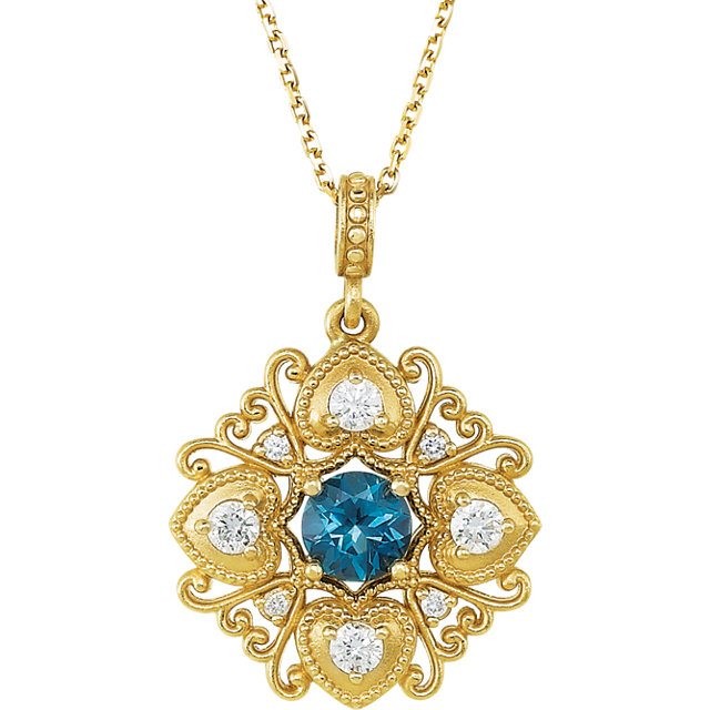 Contemporary 14 Karat Yellow Gold London Blue Topaz & 0.25 Carat Total Weight Diamond 18