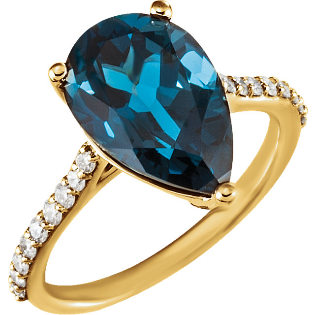 Chic 14 Karat Yellow Gold Pear Genuine London Blue Topaz & 1/4 Carat Total Weight Diamond Ring