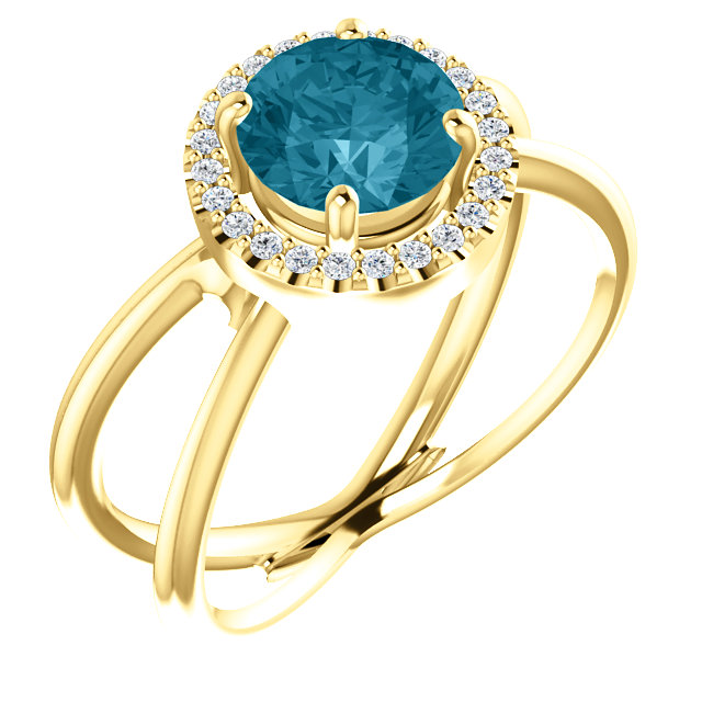 Classic 14 Karat Yellow Gold Round Genuine London Blue Topaz & 1/10 Carat Total Weight Diamond Halo-Style Ring