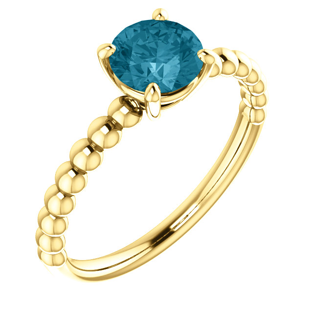 Spectacular 14 Karat Yellow Gold Round Genuine London Blue Topaz Beaded Ring