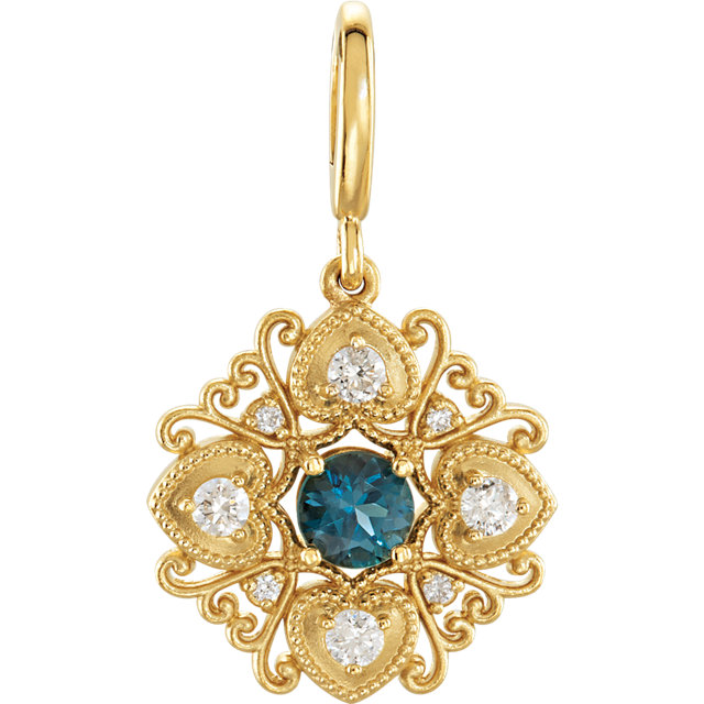 Great Buy in 14 Karat Yellow Gold London Blue Topaz & Diamond Vintage-Style Charm