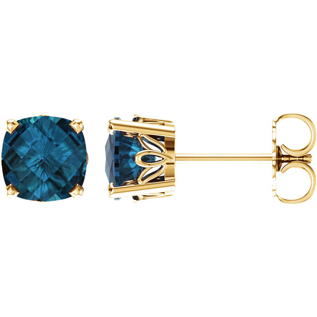 Surprise Her with  14 Karat Yellow Gold London Blue Topaz Earrings