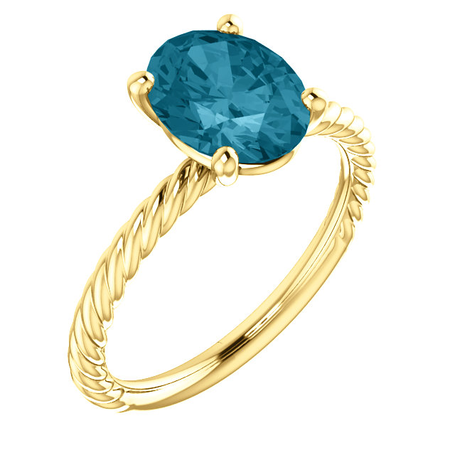 Best 14 Karat Yellow Gold Oval Genuine London Blue Topaz Ring