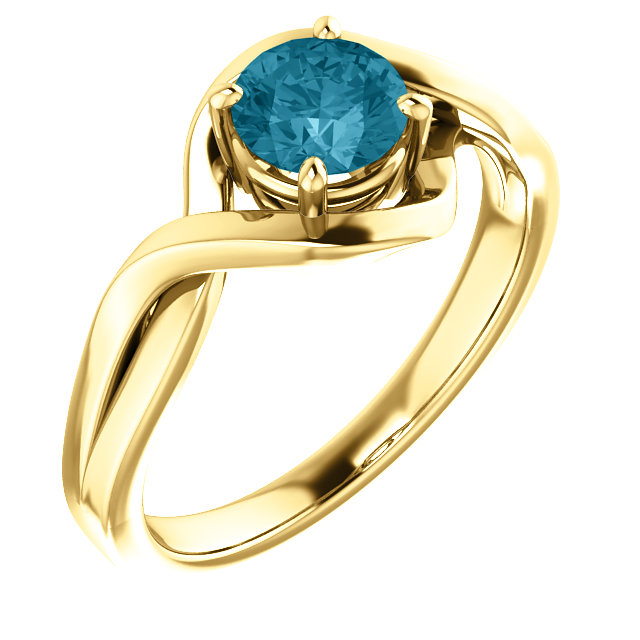 Nice 14 Karat Yellow Gold Round Genuine London Blue Topaz Ring