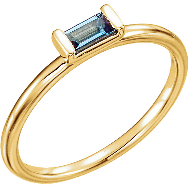 Spectacular 14 Karat Yellow Gold Straight Baguette Genuine London Blue Topaz Stackable Ring