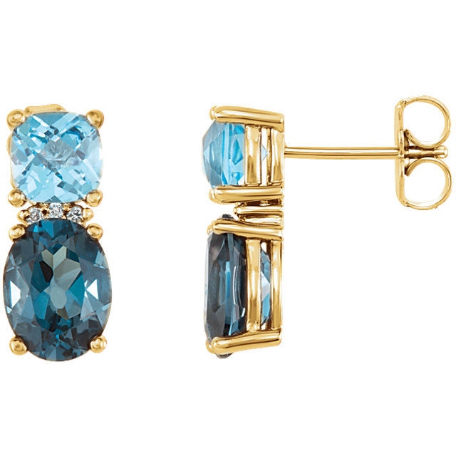 Must See 14 Karat Yellow Gold London Blue Topaz, Swiss Blue Topaz & .01 Carat Total Weight Diamond Earrings