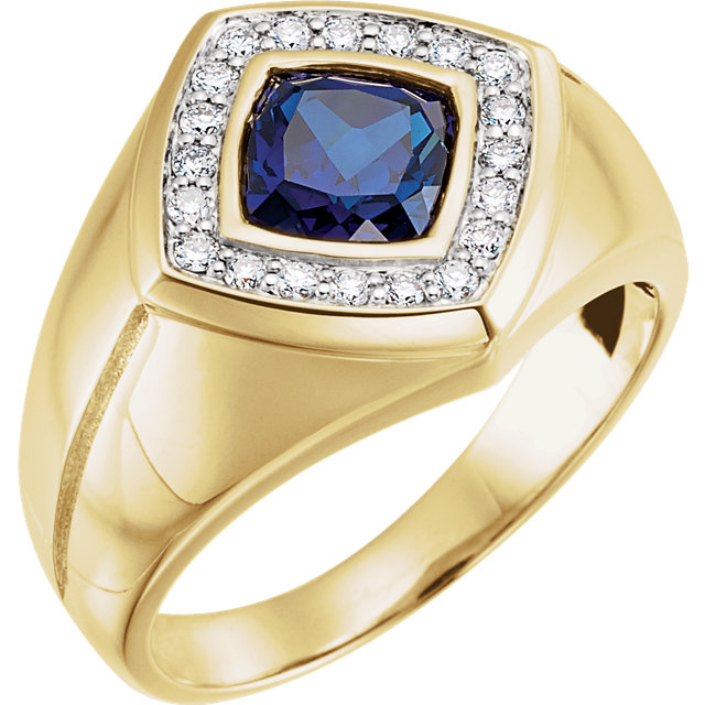 Shop 14 Karat Yellow Gold Men's Blue Sapphire & .025 Carat Diamond Ring
