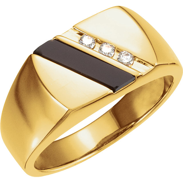 Great Buy in 14 Karat Yellow Gold Men's Onyx & 0.10 Carat Total Weight Diamond Ring