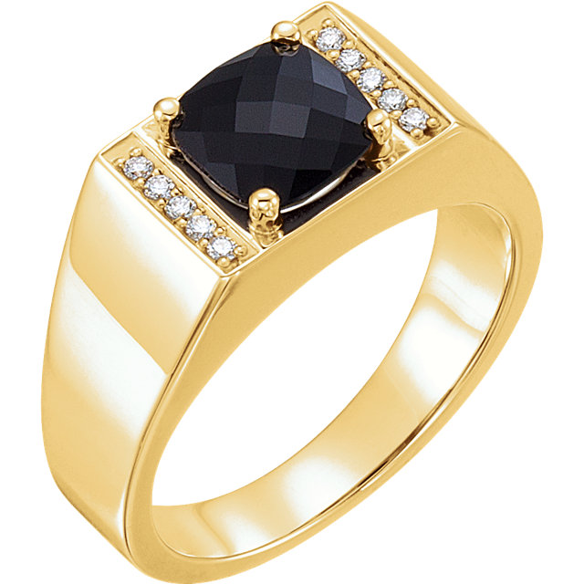 Easy Gift in 14 Karat Yellow Gold Men's Onyx & 0.10 Carat Total Weight Diamond Ring