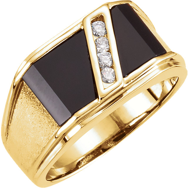 Perfect Jewelry Gift 14 Karat Yellow Gold Men's Onyx & 0.12 Carat Total Weight Diamond Ring