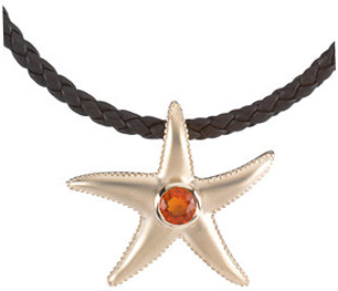 14 KT Yellow Gold Mexican Fire Opal Starfish Pendant