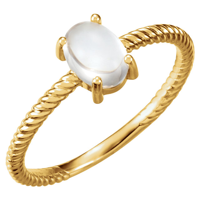 Surprise Her with  14 Karat Yellow Gold Moonstone Cabochon Ring
