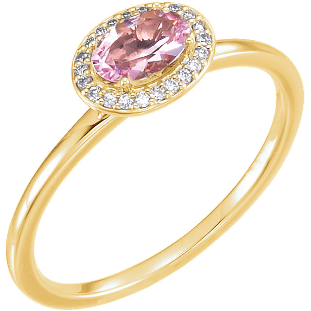 Eye Catchy 14 Karat Yellow Gold Morganite & .05 Carat Total Weight Diamond Ring