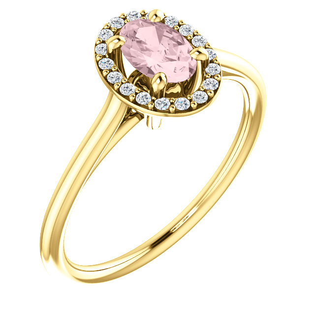 Must See 14 Karat Yellow Gold Morganite & 0.10 Carat Total Weight Diamond Ring