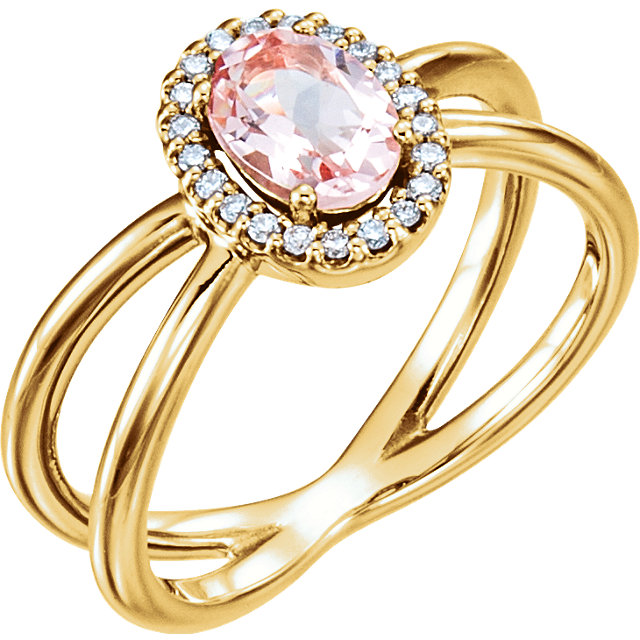 Quality 14 KT Yellow Gold Morganite & .08 Carat TW Diamond Ring