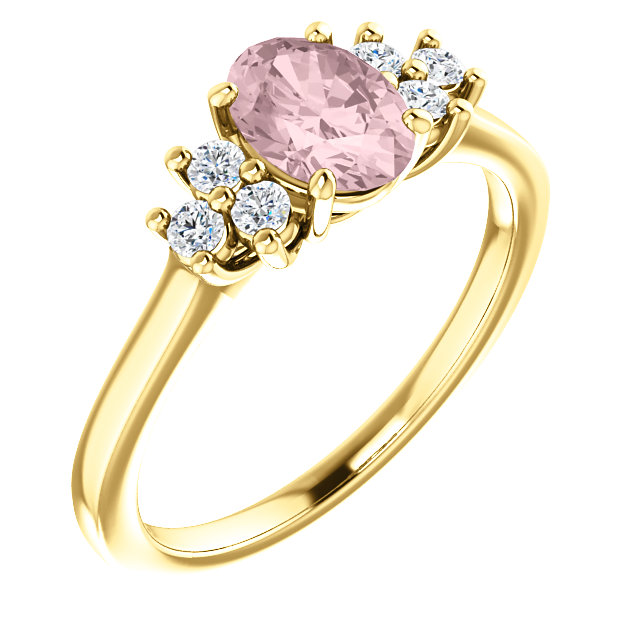 Fine Quality 14 Karat Yellow Gold Morganite & 0.20 Carat Total Weight Diamond Ring