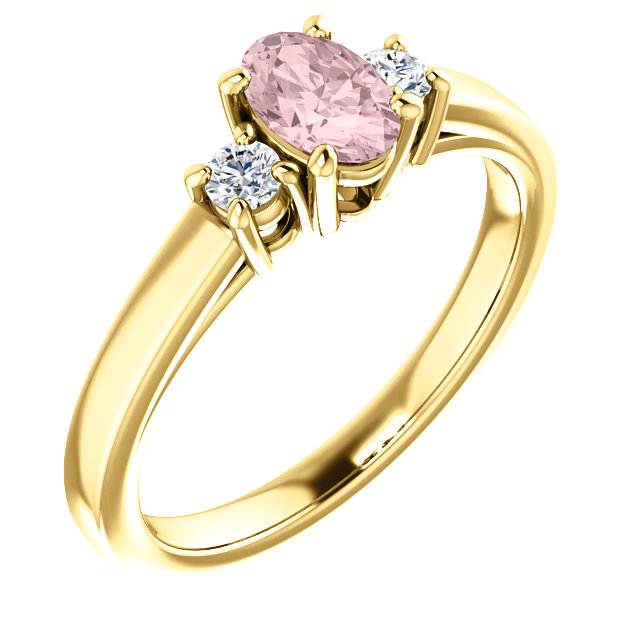 Stunning 14 Karat Yellow Gold Morganite & 0.12 Carat Total Weight Diamond Ring