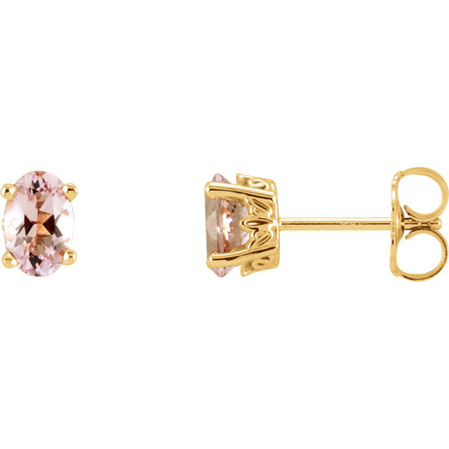Eye Catchy 14 Karat Yellow Gold Morganite Earrings