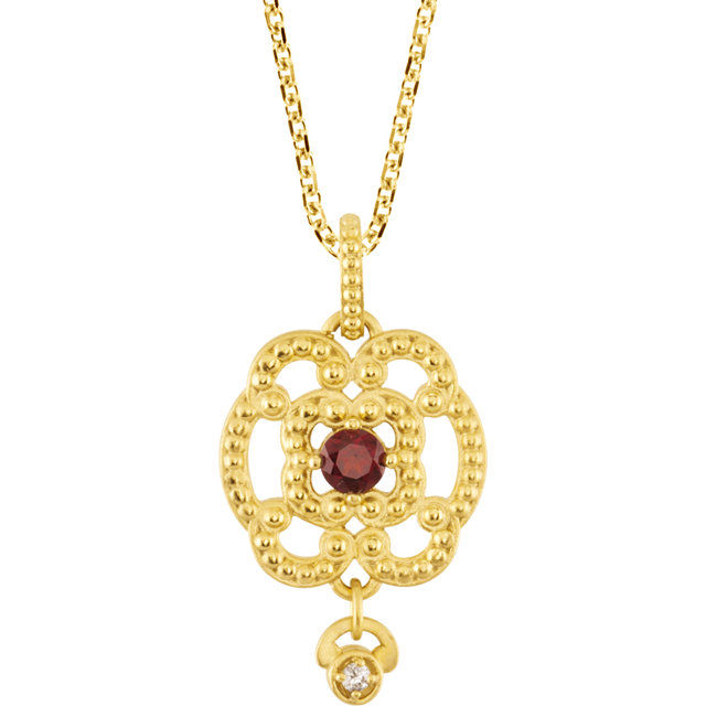 Great Gift in 14 Karat Yellow Gold Mozambique Garnet & .015 Carat Total Weight Diamond Granulated Design 18