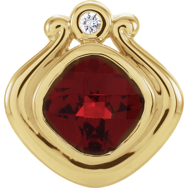 Stunning 14 Karat Yellow Gold Mozambique Garnet & .03 Carat Total Weight Diamond Pendant