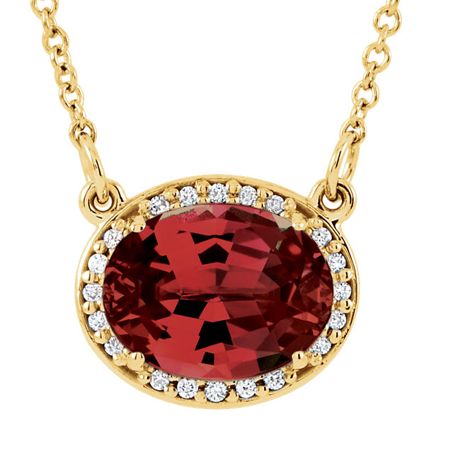 Fine Quality 14 Karat Yellow Gold Mozambique Garnet & .05 Carat Total Weight Diamond 16.5