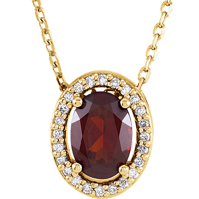 Chic 14 Karat Yellow Gold Mozambique Garnet & .05 Carat Total Weight Diamond 16