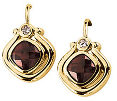 14KT Yellow Gold Mozambique Garnet & .06 Carat Total Weight Diamond Earrings