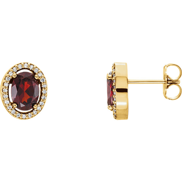 Excellent 14 Karat Yellow Gold Oval Genuine Mozambique Garnet & 1/8 Carat Total Weight Diamond Earrings