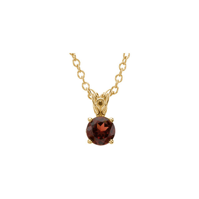 Very Nice 14 Karat Yellow Gold Mozambique Garnet 18