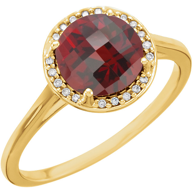 Eye Catchy 14 Karat Yellow Gold Mozambique Garnet and .05Carat Total Weight Diamond Ring