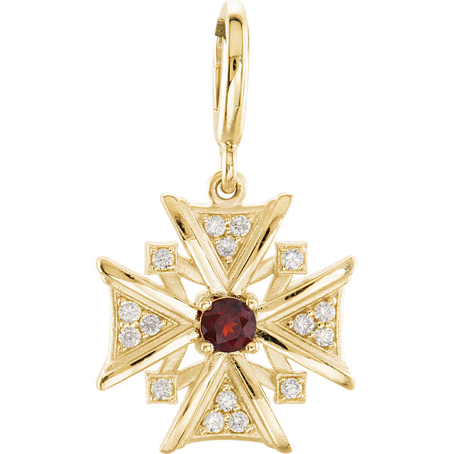 Appealing Jewelry in 14 Karat Yellow Gold Mozambique Garnet & Diamond Charm