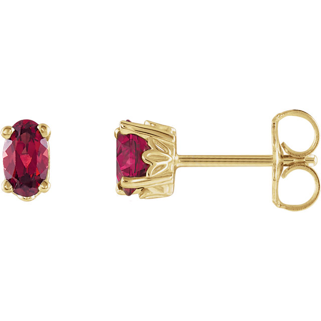 Great Gift in 14 Karat Yellow Gold Mozambique Garnet Earrings