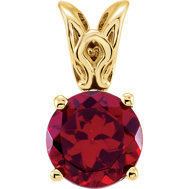 Chic 14 Karat Yellow Gold Mozambique Garnet Pendant
