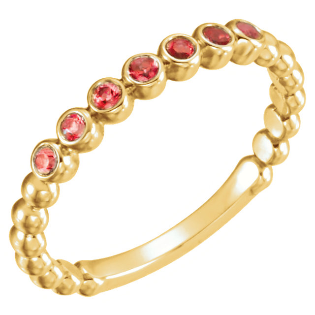 Jewelry Find 14 KT Yellow Gold Mozambique Garnet Stackable Ring